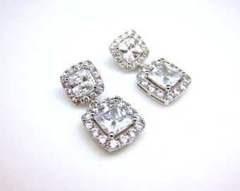 wedding jewelry bridal earrings wedding earrings AAA clear white diamond square princess cubic zirconia drop with cz square earrings post