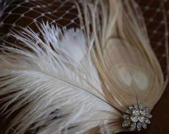 Birdcage Veil ,Champagne peacock ,Feathers Fascinator,(2 ITEMS),Champagne  bridal Feathers Fascinator, Hair Accessories,bridal head piece,