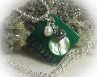 Green Prosper Hand Stamped  Square Wire Wrapped Necklace Silver Aluminum