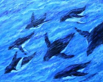 Penguins Swimming Painting - Original Art - Acrylic on 22 x 28 Canvas