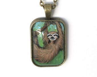 Sloth Pendant Necklace - Original Hand Painted Art - Miniature Sloth Painting under Glass Tile - Sloth Jewelry