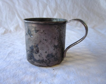 vintage silver plated baby cup - 1881 Rogers, marked LiLAC TIME floral handle, NO engraving