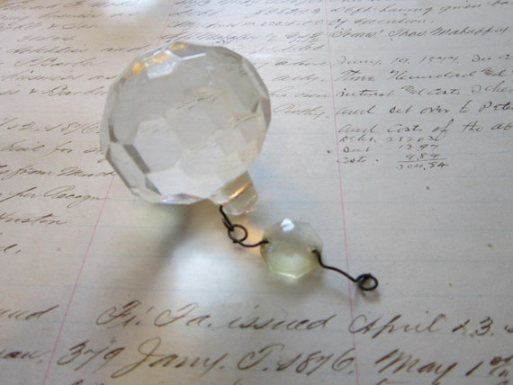 vintage chandelier prism - crystal ball - 1.5 inches wide
