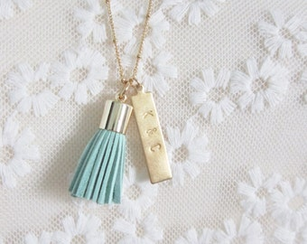 Tassel pendant necklace with personalized brass bar in mint, long layering necklace