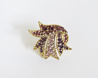 Orchid Ombre Rhinestone Banner Brooch Easter Spring Fashion