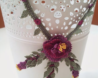 Purple Violet Floral Necklace With small Buds,Crochet Necklace,Plum Necklace,Purple Flower Necklace,Burgundary Necklace,Violet Necklace,