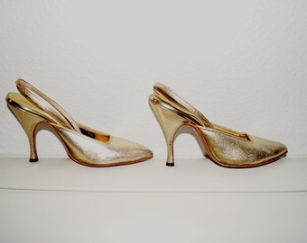 Vintage 1950s Gold Leather Heels 50s Pin Up Slingbacks High Heels Size 4