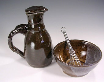 Pottery oil cruet and small mixing bowl, ceramic cruet pitcher, wisk bowl, cruet with handle, stoneware lidded  oil bottle
