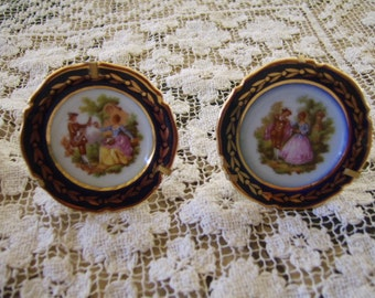 Vintage Limoges France Miniature Plates (2) Two-with standing gold plate holders