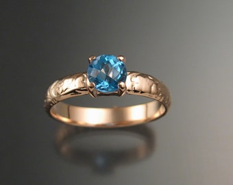 Blue Topaz Wedding ring 14k rose Gold made to order in your size