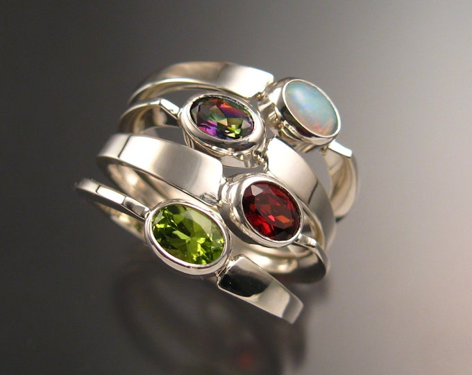 Stackable Mothers Birthstone ring set of Four asymmetrical Sterling silver rings handmade to order in your size with natural stones