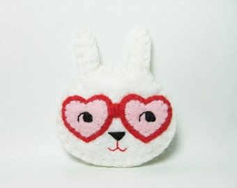 Curious Bunny Felt Brooch / Romantic White Rabbit Felt Pin / Felt Rabbit Brooch / Cute Rabbit With Heart Shaped Glasses Pin - made to order