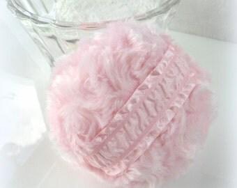 Body Powder Puff - cotton candy pink - handmade bath pouf - gift box option - handmade by Bonny Bubbles