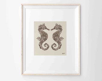 "Mehndi style Seahorses Archival Print 8""x10"", 5""x7"", 9""x12"" or 11""x14"""