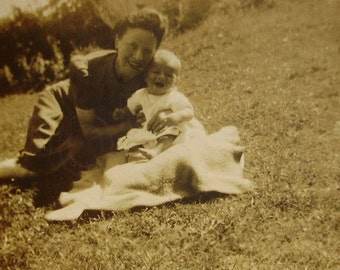 1940's Photo of a Woman with a Baby