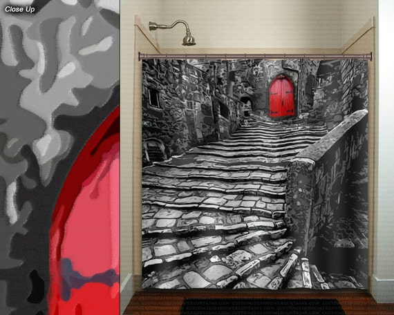 Red Door Old Cobblestone Street Stair Gray Shower Curtain