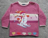 Cute Girl's Ugly Christmas Sweater w Appliqued Snowgirl