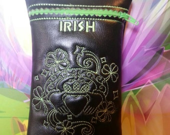 Custom Irish Lass pipe pouch in either shamrock or neon green