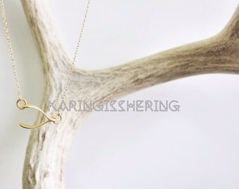 Make a WishBone - sideways 24kt Gold Plated Sterling Silver Necklace - Insurance included in ALL domestic shipping!
