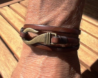 men's leather bracelet, mens jewelry, wrap bracelets, mens barcelets, Brown leather bracelet, leather Jewelry, gifts for men, gifts for him