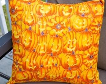 Halloween Pumpkin Pillow cover, Decorative Toss Pillow, Accent Pillow, Throw Pillow, Pillowcase, Jack-o-Lantern -  Fits 14x14 inch form