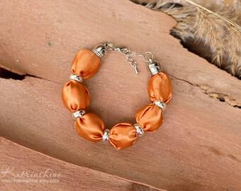 Orange fabric bead bracelet Fall bracelet