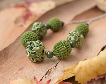 Olive green fabric and crochet beads necklace, textile necklace, textile jewelry, Statement Necklace, Unique Gift for Her