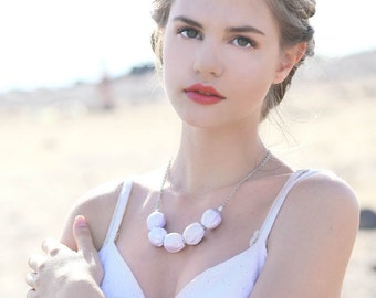 White fabric bead necklace Bridesmaid necklace Wedding necklace