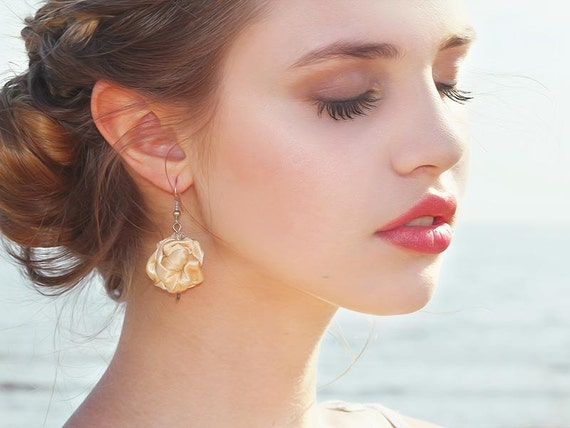Cream beige  fabric bead Earrings, ruffled textile earrings, fabric jewelry, textile jewelry, dangle earrings, Unique Gift for Her