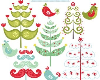Winter Trees Cute Digital Clipart - Commercial Use OK - Christmas Tree Clipart, Winter Christmas Graphics