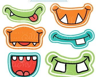 Monster Grins Cute Printable Birthday Party Favors - Printable Monster Smiles, Monster Faces