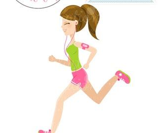 Brunette Running Girl Character Illustration - Brown Hair Woman Running, Cartoon Illustration, Runner, Jogging