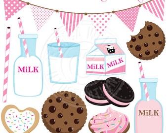 PINK Milk & Cookies Cute Digital Clip Art - Commercial Use OK - Strawberry Milk Graphics, Cookies Milk Clipart, Milk Carton, Pink Milk