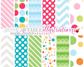 Made 2 Match: We're So Hip Owls Digital Papers - Commercial Use OK - Digital Papers, Retro School Papers, Backgrounds