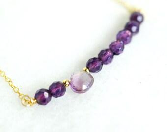 Purple Amethyst Gold Fill Wire Wrap Necklace Fine Jewelry - February Birthstone