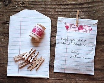 Set of 6- LOVE NOTE Paper Bag VALENTINES Set with Japanese Washi Tape and mini wooden clothespins