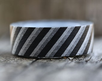 Black and White Diagonal Stripes -  Single Roll 10 mm