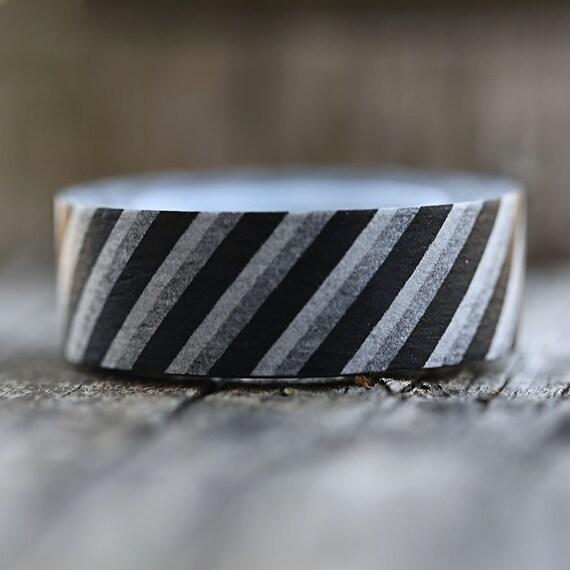 Black and White Diagonal Stripes -  Single Roll 10 mm