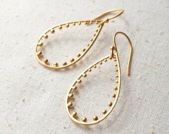 Gold Teardrop Earrings, Modern Earrings, Gold Earrings