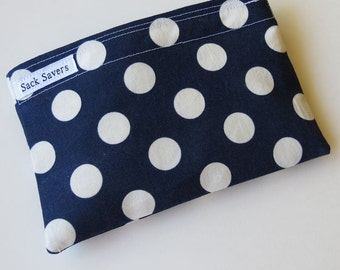 Reusable Eco Friendly Sandwich or Snack Bag Navy Blue Polka Dots