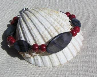 "Black Mother of Pearl & Natural Red Coral Bracelet ""Holly Berry"" Special Offer Price, Coral Bracelet, Shell Bracelet, Red Bracelet, Gift"