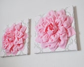 """TWO Wall Flowers -Light Pink Dahlia Flowers on White, Taupe and Light Pink Damask Print 12 x12"""" Canvas Wall Art- Baby Nursery Wall Decor-"""