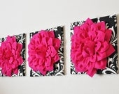 """Home Wall Hangings -Hot Pink Dahlia Flowers on Black and White Damask Print 12 x 12"""" Canvas Wall Art Set- Baby Nursery Wall Decor-"""