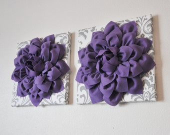 "Flower Wall Hangings -Lavender Purple Dahlias on White and Gray Damask 12 x12"" Canvas Wall Art- Baby Nursery Wall Decor set of TWO"