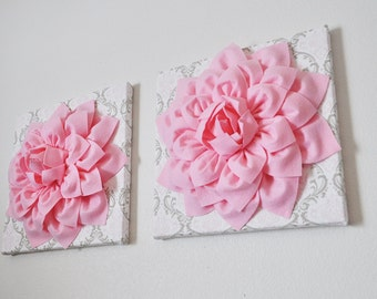 "Pink Wall Flowers -Light Pink Dahlia Flowers on White, Taupe and Light Pink Damask Print 12 x12"" Canvas Wall Art- Baby Nursery Wall Decor-"