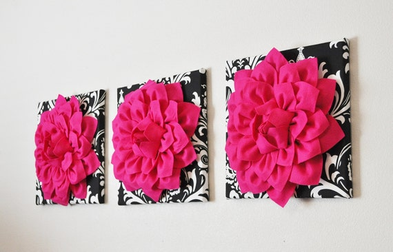 home wall hangings hot pink dahlia flowers on black by