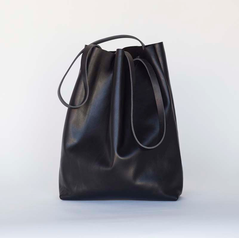 sale Large Black Leather Tote Bag on sale oversized black