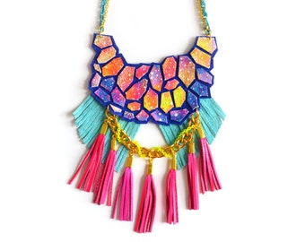 Pink Galaxy Statement Necklace, Tassel Leather Necklace, Nebula Hexagon Fringe Leather Geometric Jewelry