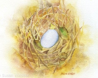 Bird Nest Watercolor Greeting Card - 5 x 7 - Painting Print