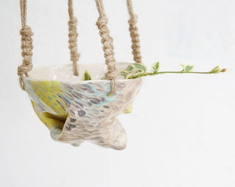SALE Quirky handmade hanging ceramic planter